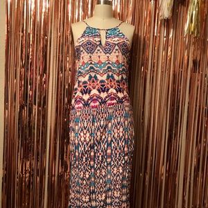 Renee C. Colorful Pattern Maxi Dress